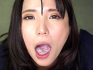 Japanese girl gives her boyfriend excellent blowjob till he cums right in her wet mouth 9