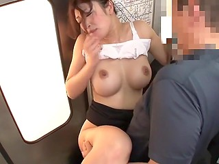 Student catches hot to trot Japanese teacher in train and fucks her in front of passengers