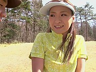 Best of three Japanese golf players wins the possibility to suck pleased coach's cock 4