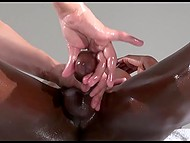 Black-skinned male blindfolds himself to concentrate on feelings during professional dick massage 7