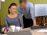 Czech girl needs big credit and she lets office employee fuck her to speed up process 4