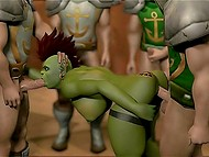 Alliance soldiers break into Horde tavern and own spacious cunt of buxom Orc-barmaid