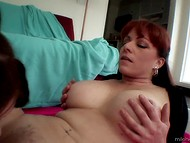 Mature female with red hair checked whether cute brunette can lick and finger pussy or not 6