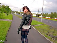 Little pussy and strong butt cheeks of naughty flasher Jeny Smith are clearly seen through pantyhose