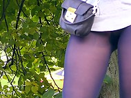 Little pussy and strong butt cheeks of naughty flasher Jeny Smith are clearly seen through pantyhose 4