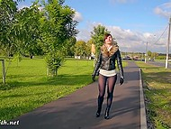 Little pussy and strong butt cheeks of naughty flasher Jeny Smith are clearly seen through pantyhose 8