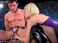 Blonde mistress analyzed chained slave with strapon and now it's time for her pussy to get pleased 7