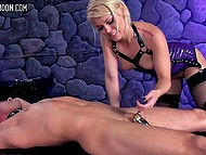 Blonde mistress analyzed chained slave with strapon and now it's time for her pussy to get pleased 9