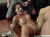 Slutty girlfriends are getting covered with champagne and roughly fucked in Czech video 5