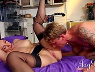 British Ava Austen with exotic tattoos put on sexy lingerie and happily welcomed handsome dude 7