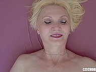 Unhurried masturbation of shaved pussy leads experienced Czech lady to orgasm 8