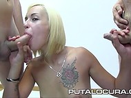 Just Spanish bitch with small tits can swallow all these loads of cum and keep smiling after that 5