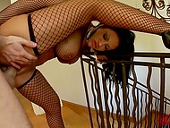Full-bosomed brunette in fishnet top and stockings fucked in ass and this pleasure can't be compared to anything 5