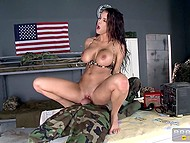 Stacked nurse Peta Jensen does head bandage and satisfies soldier sexual needs 7