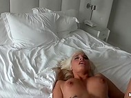 Active copulation in bedroom culminates for good-looking blonde with warm facial 5