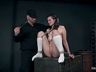 Tough master dominates over tied and naked chick with help of various methods