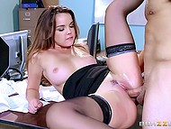 Call center worker Dillion Harper fucked by colleague who ejaculates on natural tits