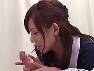 Shy sweetie from Japan spies on girl riding immobilized patient's dick and follows her example 6
