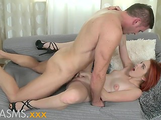Exactly slow sexual act of red-haired Spanish girl and her lover becomes the key to orgasm
