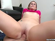 Skinny girl in red T-shirt puts vagina on erect cock and she won't stop till guy cums 5