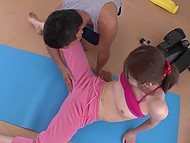 Gymnastics with young couch should relax Japanese girl but she got excited about his touches 9