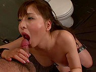 Guard breaks the rules and enters the cell of big-boobied Japanese prisoner for blowjob 10