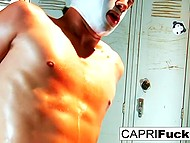 Amorous beauty Capri Cavanni has sex with masked wrestler before fight in changing room 6