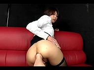 Teenage Japanese chick stretches her anus so well that friend's palm fits inside it with ease 5