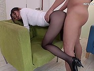 Buddy was hurrying to visit pretty Chinese girlfriend's pussy and just tore her pantyhose