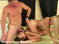 Dirty cougar makes sure her good-looking stepdaughter will be talented at satisfying guys 9