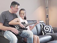 Old guy and freshly young teen interrupted guitar playing lesson to make love on couch 3