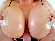Smoking-hot blonde with natural jugs carefully gags on erect joystick of her partner 5
