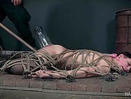 Guy tied Kitty Dorian up so that she couldn't move and fucked her pussy with huge stick