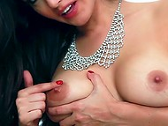 Beauty from India in black lingerie relaxes with her hand that fondles nipples and nails twat 7