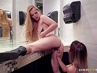 Two party-girls entered club toilet to smarten themselves up a bit and moreover stimulated warm sissies 8