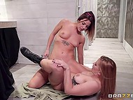 Two party-girls entered club toilet to smarten themselves up a bit and moreover stimulated warm sissies 9