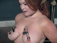 Pervert enjoys dominating young body of red-haired prisoner especially her big natural tits 10
