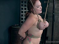 Pervert enjoys dominating young body of red-haired prisoner especially her big natural tits 5
