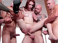 Black bruiser was fucking red-haired slut in asshole when some comrades joined them 6