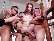 Black bruiser was fucking red-haired slut in asshole when some comrades joined them
