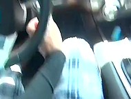 Guy with camera needs to stop the car because black woman with glasses swallows his cock 4