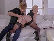 Curly guy warms ass and pussy of blonde in stockings and she gives him deepthroat blowjob 4