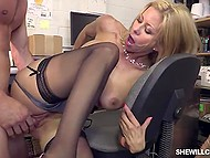 Boy works in office, where arousing secretary with blonde hair regularly presents him pussy