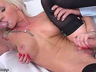 Mesmerizing Christina Shine has fun with two colleagues after champagne at workplace 11