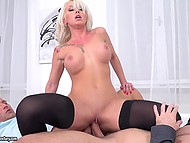 Mesmerizing Christina Shine has fun with two colleagues after champagne at workplace 6