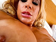 Extremely-hot cougar Alyssa Lynn brings cameraguy to orgasm with her oiled big boobs 7