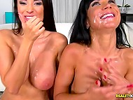 Divine Anissa Kate from Europe gets together with staked friend to seduce two fuckers 11