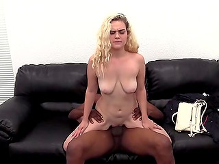 When blonde newbie was going to the casting she didn't thought her tender holes would get blacked