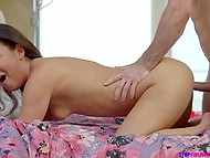 Greedy for cock sweetie jumps into orgasm on curly-haired stepbrother's pecker 7