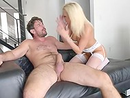 Awesome gonzo video starring blonde-haired whore and French fucker with experience 4